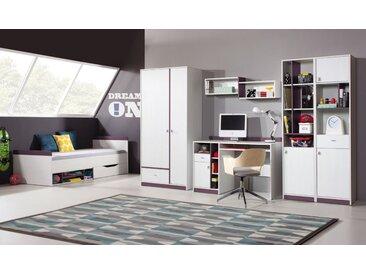 Jugendzimmer - Schrank Fabien 05, Kiefer Weiß / Lila - Abmessungen: 195 x 45 x 40 cm (H x B x T)