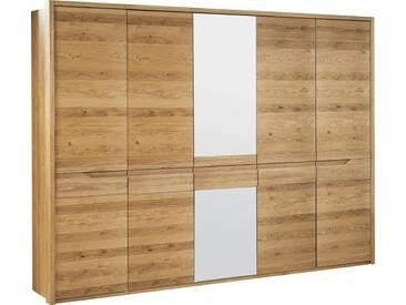 Schrank Kyme Wildeiche natur 51, teilmassiv - 209 x 255 x 63 cm (H x B x T)