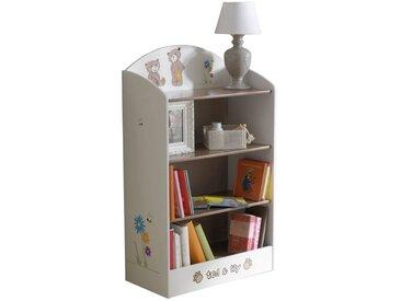 Kinderzimmer - Bücherregal Matteo 14, Farbe: Weiß / Braun - Abmessungen: 100 x 60 x 30 cm (H x B x T)
