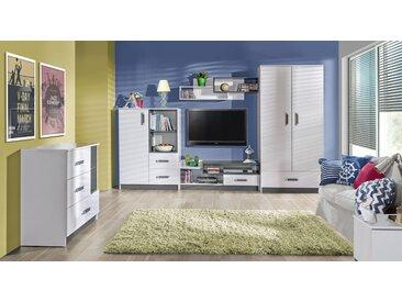 Kinderzimmer Set A Frank, 5-teilig, Farbe: Weiß / Grau