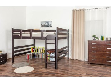 Hochbett für Erwachsene Easy Premium Line K15/n, Buche Vollholz massiv Schokobraun, umbaubar - Liegefläche: 160 x 200 cm