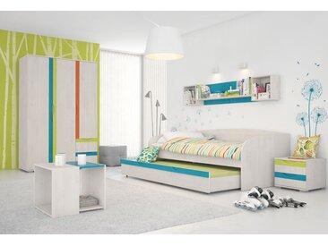 Kinderzimmer Komplett - Set E Peter, 7-teilig, Farbe: Kiefer Weiß / Orange / Gelb / Türkis
