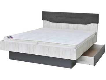 Doppelbett / Gästebett Marigenta 02 inkl. Schublade, Farbe: Eiche Weiß / Grau - 160 x 200 cm (B x L)
