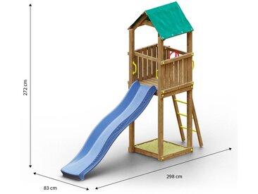 Kinderspielturm / Spielanlage inkl. Wellenrutsche und Sandkasten FSC®
