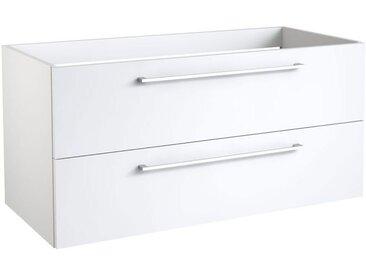 Waschtischunterschrank Rajkot 19 mit Siphonausschnitt, Farbe: Weiß matt – 50 x 99 x 45 cm (H x B x T)