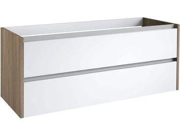 Waschtischunterschrank Kolkata 43 mit Siphonausschnitte für Doppelwaschtisch, Farbe: Weiß glänzend / Eiche – 50 x 120 x 46 cm (H x B x T)
