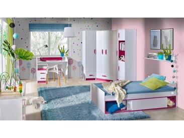 Kinderzimmer Komplett - Set B Frank, 8-teilig, Farbe: Weiß / Rosa