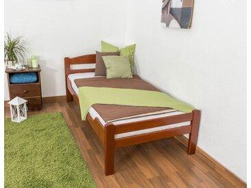 Einzelbett Easy Premium Line K1/2n, Buche Vollholz massiv kirschrot lackiert - Liegefläche: 90 x 200 cm