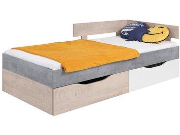 Kinderbett / Jugendbett Lede 15, Farbe: Grau / Eiche / Weiß - Liegefläche: 90 x 200 cm