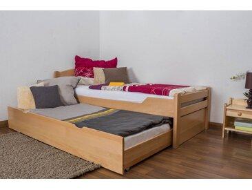 Einzelbett / Funktionsbett Easy Premium Line K1/h Voll inkl. 2. Liegeplatz und 2 Abdeckblenden, 90 x 200 cm Buche Vollholz massiv Natur