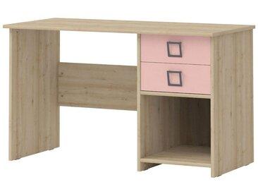 Kinderzimmer - Schreibtisch Benjamin 28, Farbe: Buche / Rosa - 74 x 125 x 60 cm (H x B x T)