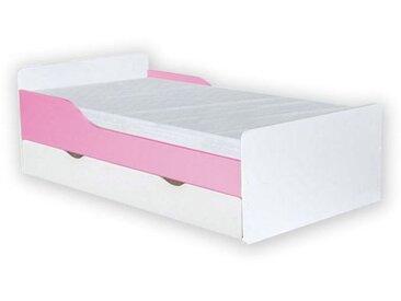 Kinderbett Daniel 09 inkl. Bodenplatte, Matratze und Schublade, Farbe: Weiß / Rosa - 80 x 160 cm (B x L)