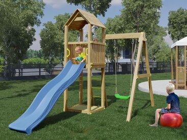Spielturm / Kletterturm K9 inkl. Wellenrutsche, Einzelschaukel, Sandkasten und Holzdach FSC®