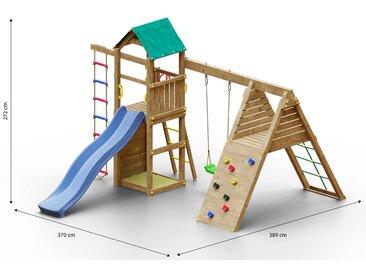 Kinderspielturm / Spielanlage inkl. Klettergerüst, Strickleiter, Einzelschaukel, Sandkasten, Kletterwand und Wellenrutsche FSC®