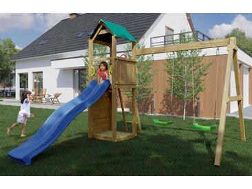Spielturm / Kletterturm K11 inkl. Wellenrutsche, Doppelschaukel, Sandkasten und Kletterwand FSC®