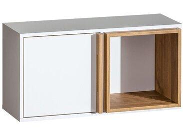 Hängeschrank Lefua 09, Farbe: Weiß / Nussfarben - Abmessungen: 41 x 80 x 27 cm (H x B x T)
