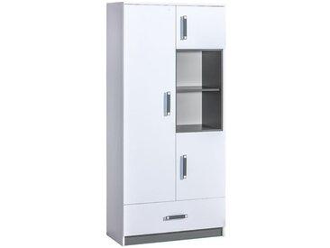 Kinderzimmer - Drehtürenschrank / Kleiderschrank Frank 03, Farbe: Weiß / Grau - 189 x 90 x 40 cm (H x B x T)