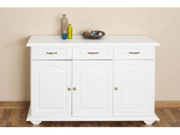 Sideboard mit 3 Schubladen, Farbe: Weiß, Breite: 139 cm - Küchenschrank, Anrichte, Sideboard