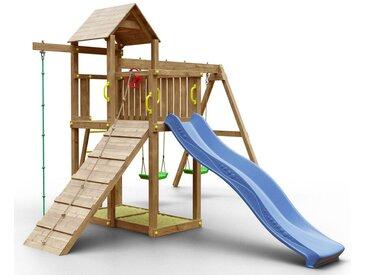 Spielturm K13 inkl. Wellenrutsche, Doppelschaukel, 2 Sandkästen, Rampe mit Kletterseil, Terrasse, Kletterseil und Holzdach FSC®