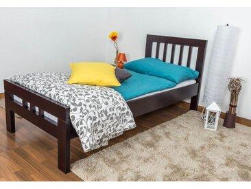 Einzelbett Easy Premium Line K8, Buche Vollholz massiv schokobraun lackiert - Liegefläche: 90 x 200 cm
