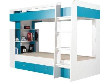 Funktionsbett / Kinderbett Geel 19  Weiß / Türkis - Liegefläche: 90 x 200  (B x L)