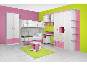 Kinderzimmer Komplett - Set E Luis, 12-teilig, Farbe: Eiche Weiß / Rosa
