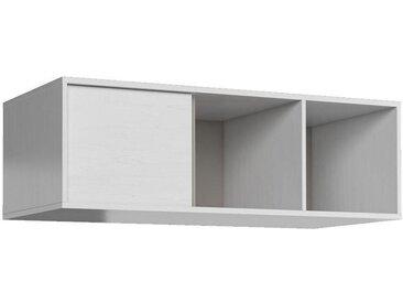 Hängeregal / Wandregal Alwiru 11, Farbe: Kiefer Weiß / Grau - 34 x 120 x 22 cm (H x B x T)