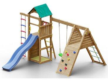 Spielturm K16 inkl. Wellenrutsche, Einzelschaukel, Sandkasten, Kletterwand, Strickleiter und Klettergerüst FSC®