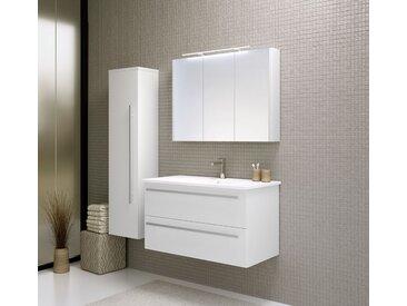 Badmöbel - Set H Bidar, 3-teilig inkl. Waschtisch / Waschbecken, Farbe: Weiß glänzend