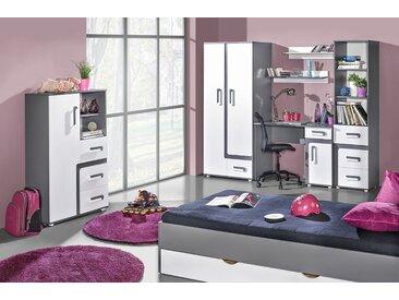 Jugendzimmer Komplett - Set A Oskar, 8-teilig, Farbe: Anthrazit / Weiß