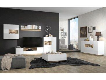 Wohnzimmer Komplett - Set A Matavai, 6-teilig, Farbe: Weiß Hochglanz / Buche
