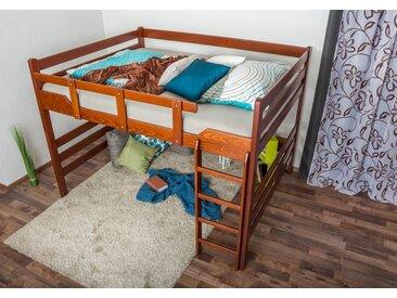 Hochbett für Erwachsene Easy Premium Line K15/n, Buche Vollholz massiv Kirschrot, umbaubar - Liegefläche: 160 x 200 cm