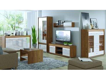 Wohnzimmer Komplett - Set B Tempe, 6-teilig, Farbe: Nussfarben / Weiß Hochglanz, Fronteinsatz: Nussfarben