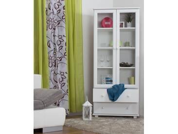 Vitrine Landhaus-Stil, Kiefer Massivholz, Farbe: Weiß, Breite: 80 cm