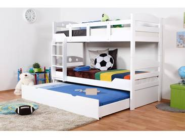 Etagenbett Buche : Möbilia etagenbett buche massiv weiß lackiert textilset blau