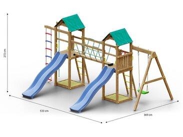 Kinderspielturm / Spielanlage inkl. Seilbrücke, Strickleiter, 2 Türme, 2 Wellenrutschen, Einzelschaukel, 2 Sandkästen und Kletterseil FSC®