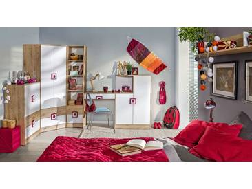 Kinderzimmer Komplett - Set C Fabian, 6-teilig, Farbe: Eiche Hellbraun / Weiß / Rosa