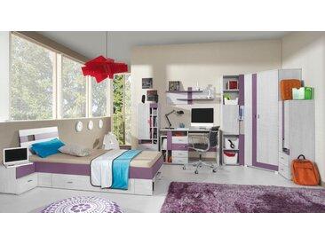 Jugendzimmer Komplett - Set B Emilian, 8-teilig, Kiefer gebleicht / Lila