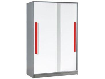 Jugendzimmer - Schiebetürenschrank / Kleiderschrank Olaf 13, Farbe: Anthrazit / Weiß / Rot, teilmassiv - 191 x 120 x 60 cm (H x B x T)