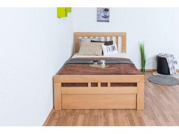 Einzelbett / Gästebett Easy Premium Line K8 inkl. 1 Abdeckblende, 120 x 200 cm Buche Vollholz massiv Natur