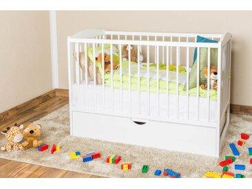 Gitterbett / Kinderbett Kiefer massiv Vollholz weiß lackiert 102, inkl. Lattenrost - Abmessung 60 x 120 cm, inkl. Schublade