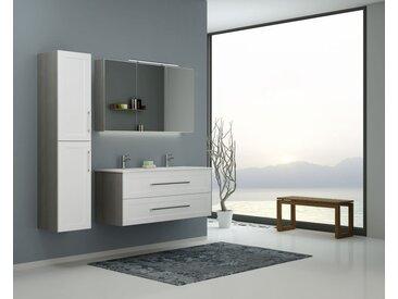 Badezimmermöbel - Set S Bengaluru, 3-teilig inkl. Waschtisch / Waschbecken, Farbe: Weiß matt / Esche Grau
