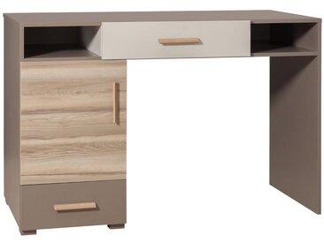 Jugendzimmer - Schreibtisch Roland 10, Farbe: Braun, teilmassiv - 85 x 125 x 55 cm (H x B x T)