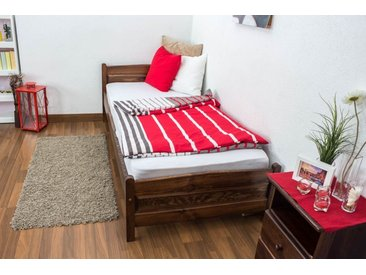 Einzelbett / Gästebett Kiefer Vollholz massiv Nussfarben A15, inkl. Lattenrost - Abmessung 90 x 200 cm
