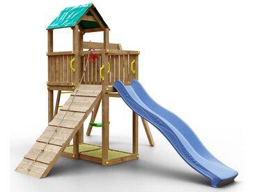 Spielturm K7 inkl. Wellenrutsche, Einzelschaukel, 2 Sandkästen, Terrasse und Rampe mit Kletterseil FSC®