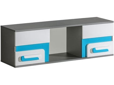 Jugendzimmer - Hängeregal / Wandregal Oskar 10, Farbe: Anthrazit / Weiß / Blau - 38 x 120 x 32 cm (H x B x T)