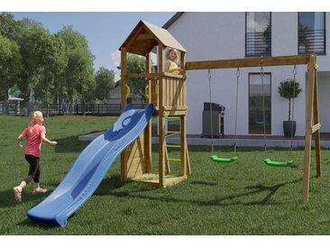 Spielturm / Kletterturm K12 inkl. Wellenrutsche, Doppelschaukel, Sandkasten, Kletterwand und Holzdach FSC®