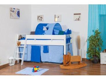 Kinderbett Hochbett Tom inkl. Rollrost - Material: Buche massiv natur,  Farbe: weiß lackiert