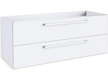 Waschtischunterschrank Rajkot 26 mit Siphonausschnitt, Farbe: Weiß glänzend – 50 x 119 x 45 cm (H x B x T)