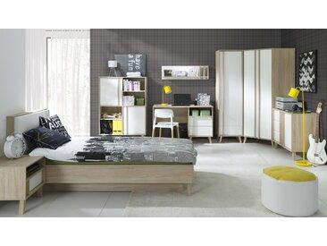 Jugendzimmer Komplett - Set D Marousi, 8-teilig, Farbe: Alpinweiß / Eiche Sonoma